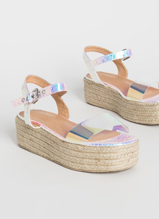 Flashy Braided Holographic Wedge Sandals