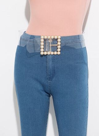 Clearly A Lady Wide Faux Pearl Belt