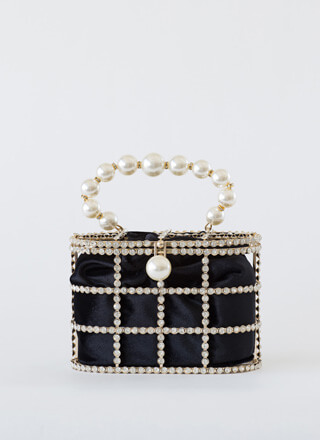 Audrey Caged Jeweled Faux Pearl Bag