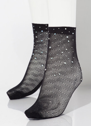 Fresh Feet Jeweled Fishnet Stockings