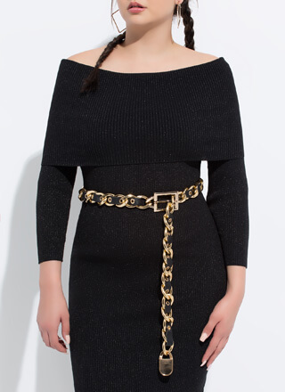Lock Me Up Faux Leather Chain Belt
