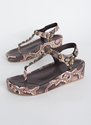 Hex On You Studded T-Strap Wedge Sandals