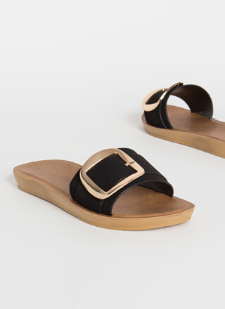 Big Buckles Faux Nubuck Slide Sandals