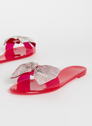 New Bow-Friend Jeweled Slide Sandals