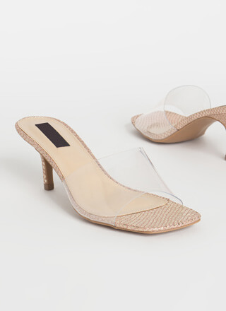 You're Being Pedi Clear Mule Heels