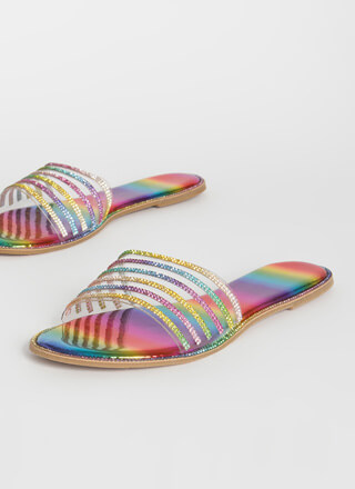 Upgrade Sparkly Striped Slide Sandals