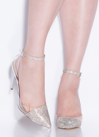 Ultra Glam Pointy Clear Jeweled Heels