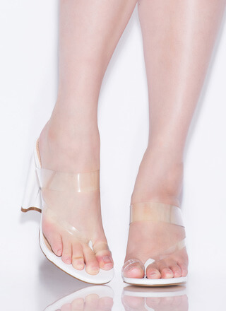 Fashion Forward Feet Clear Thong Heels