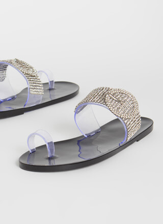 Buckled Beauty Jeweled Jelly Sandals