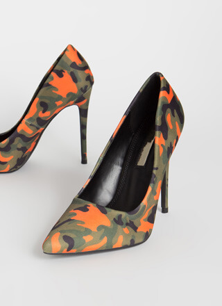 Point It Out Camo Stiletto Pumps