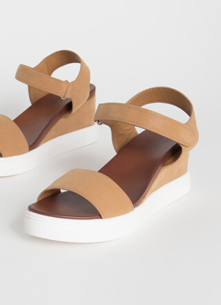 Sneak Away Faux Nubuck Wedge Sandals