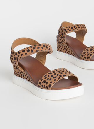 Sneak Away Cheetah Wedge Sandals