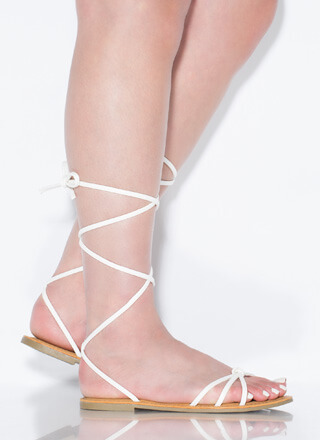 Boho Babe Faux Leather Lace-Up Sandals