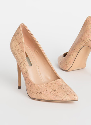 Point It Out Cork Stiletto Pumps
