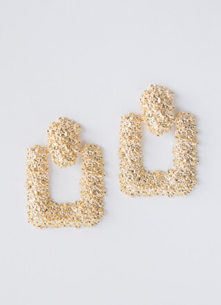 Square Off Textured Doorknocker Earrings