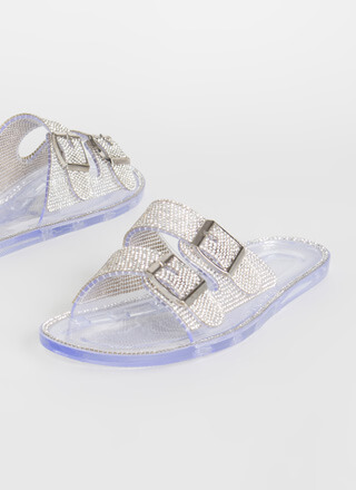 Jeweled Everything Buckled Slide Sandals