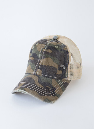 Cool In Camo Distressed Trucker Hat