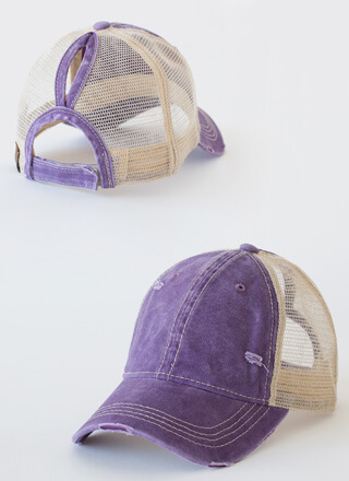 Hi Ponytail Distressed Trucker Hat