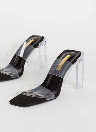 Clear Illusion Faux Suede Lucite Heels