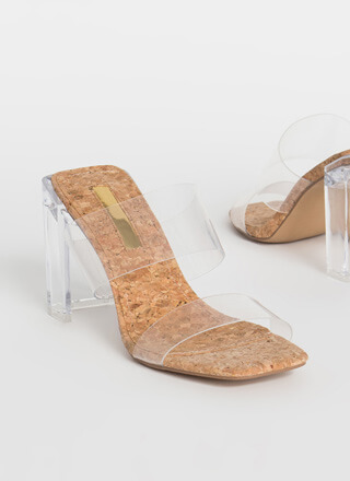 Clear Illusion Cork Lucite Heels