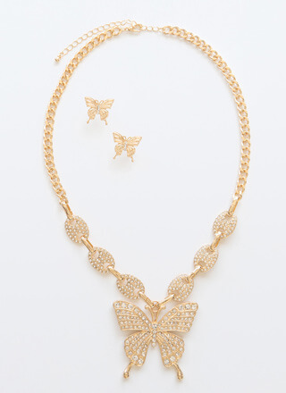 Social Butterfly Jeweled Necklace Set