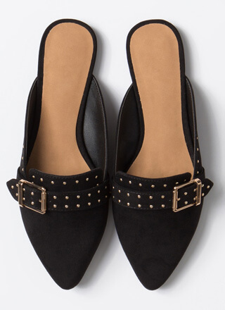 Edgy-Chic Pointy Studded Mule Flats