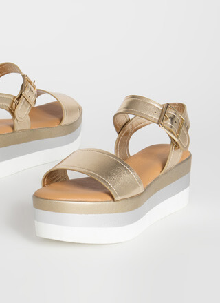 Higher-Ups Metallic Platform Sandals