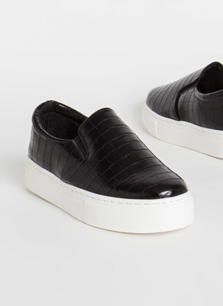 New Platform Faux Crocodile Sneakers