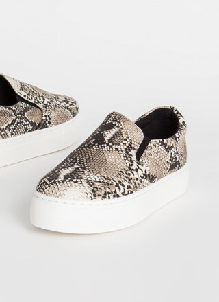 New Platform Faux Snake Sneakers