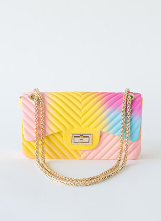 Funkytown Chevron Ombre Jelly Purse