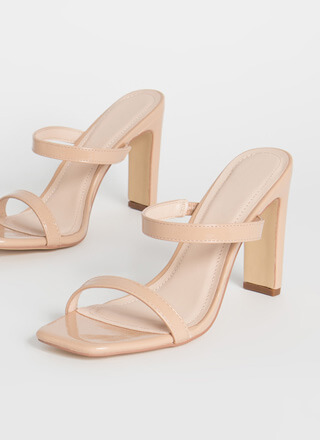 Bar Raised Strappy Faux Patent Heels