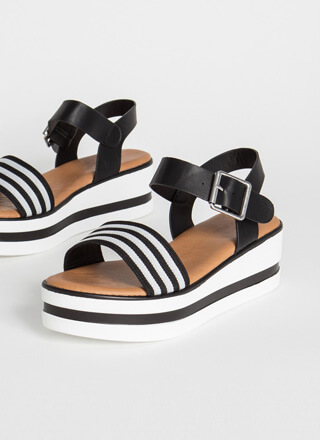 In The Striped Direction Wedge Sandals