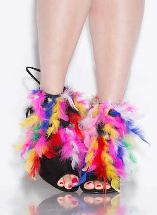 Feathered Friend Rainbow Lace-Back Heels
