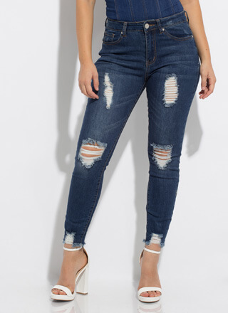 Stress-Free Destroyed High-Waisted Jeans