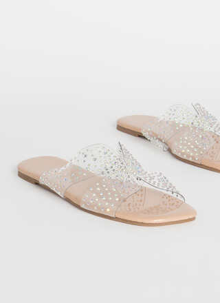 Twinkle Toes Clear Jeweled Slide Sandals