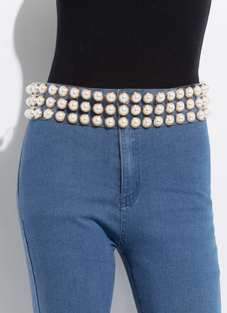 Let's Be Clear Wide Faux Pearl Belt