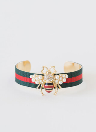 Bee-loved Striped Jeweled Cuff Bracelet