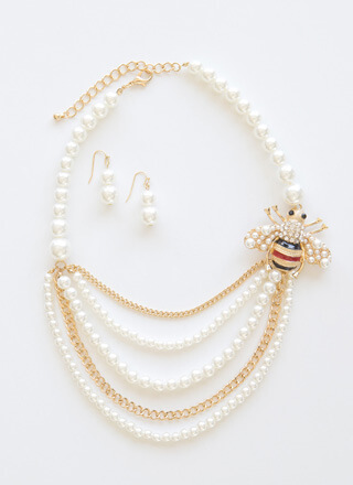 Bee-loved Draped Faux Pearl Necklace Set