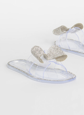 Big Bows Don't Cry Jeweled Jelly Sandals