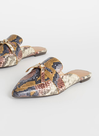 Give It A Tie Snake Print Mule Flats