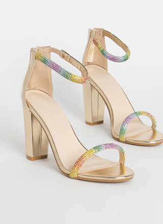 Shiny Rainbow Jeweled Chunky Heels