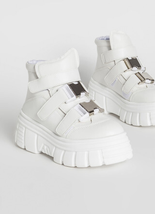 Moon Walk Buckled Platform Sneakers