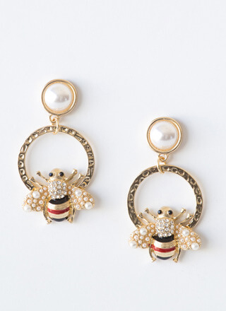 Bee-loved Faux Pearl Ring Earrings