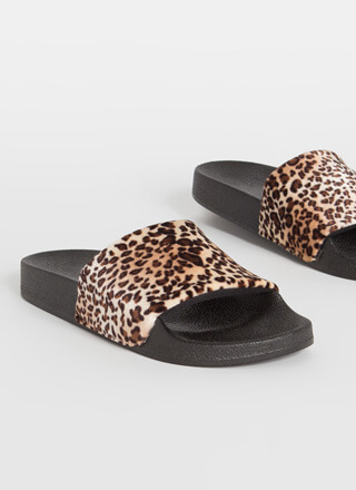Leisurely Leopard Velvet Slide Sandals