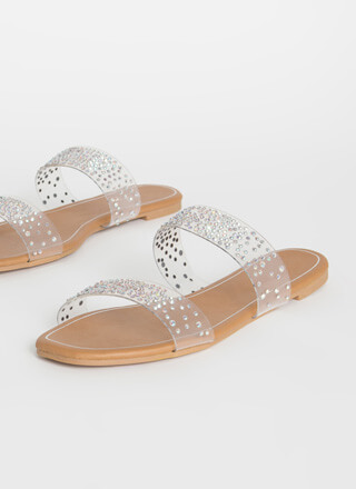 Clear Night Sky Jeweled Slide Sandals