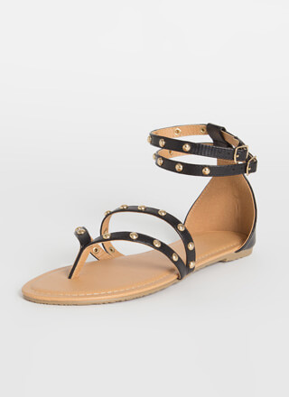 Strappy And Studded Thong Sandals