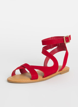 Keep Me Strappy Faux Nubuck Sandals