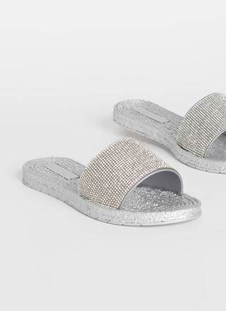 Serious Sparkle Rhinestone Slide Sandals