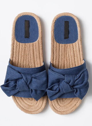 Just Add A Big Bow Denim Slide Sandals