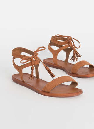 Boho Touch Tied Tasseled Sandals